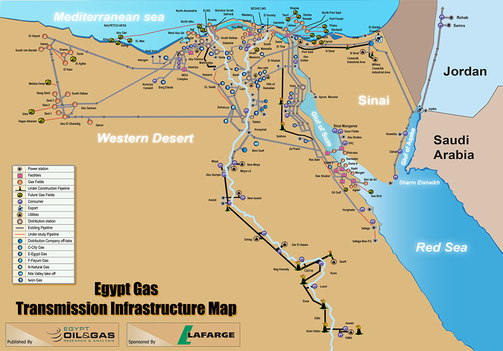 Egypt Gas Transmission Infrastructure Map